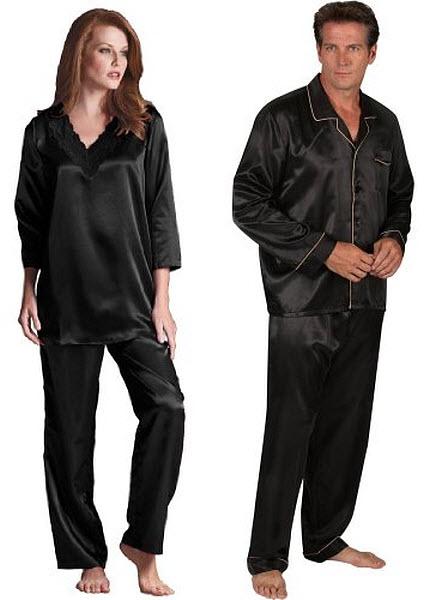 black-satin-pajamas