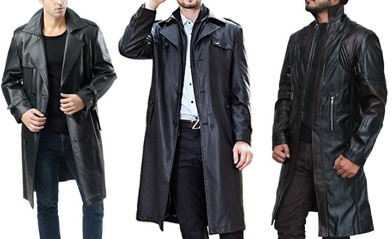 Mens black leather trench coats