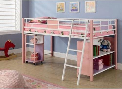 Pink-loft-bed