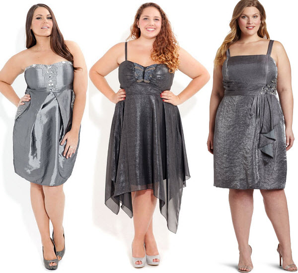 plus-size-silver-dresses