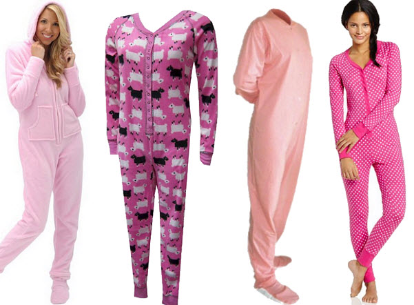 womens-pink-one-piece-pajamas-union-suits-onesies-long-johns