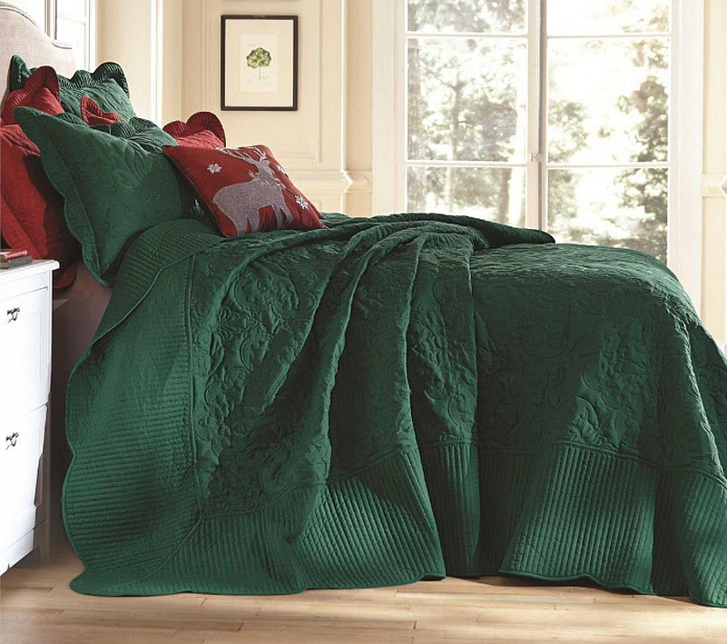 dark green bedspreads